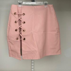 Faux Leather Blush Skirt (Never Worn)